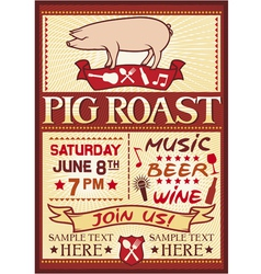 Pig roast poster vector