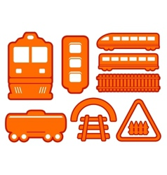 Yellow rail road icons set vector