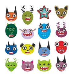 Cute cartoon monsters set big collection on white vector