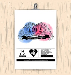 Valentines day card on wood background vintage vector