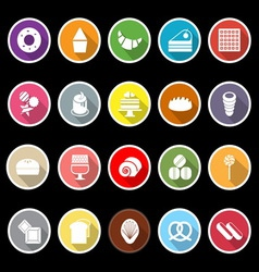 Variety bakery flat icons with long shadow vector