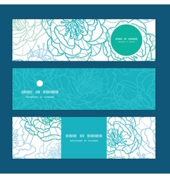 Blue line art flowers horizontal banners vector