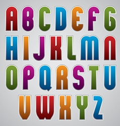 Colorful glossy rounded font geometric narrow vector