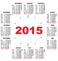 Office calendar 2015 hours vector