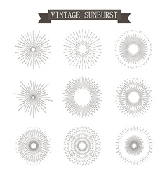 Sunburst vintage icons vector