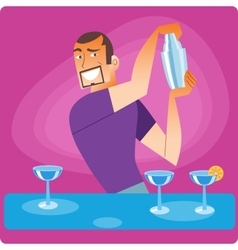 Stylish bartender prepares a cocktail vector
