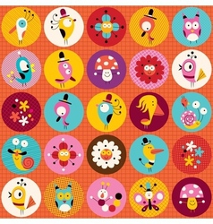 Cute characters nature circles pattern vector