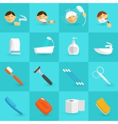 Hygiene icons flat vector
