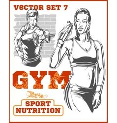 Fitness girls - set vector