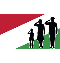 Hungary soldier family salute vector