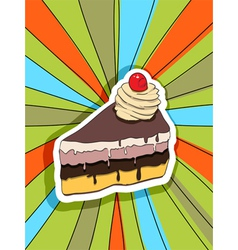 Pop art slice of cake vector