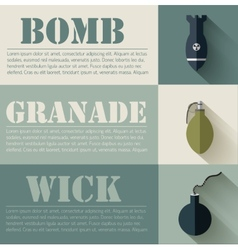 Flat military explosive weapons set design concept vector