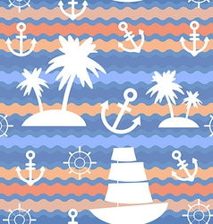 Marine background palms anchor steering wheel wave vector