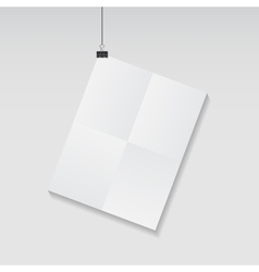 White blank page with clip vector