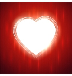 White heart shape on red stylish background vector