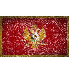 Flags montenegro with broken glass texture vector