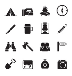 Silhouette tourism and hiking icons vector