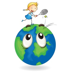 Girl playing tennis on earth globe vector