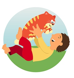 A kid and a cat vector