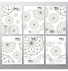 Dotted pattern with circles and nodes brochure vector