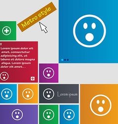 Shocked face smiley icon sign metro style buttons vector