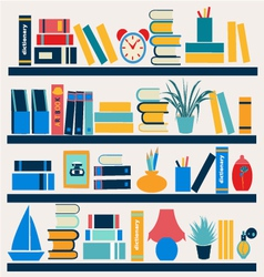 Bookshelf full of books - vector