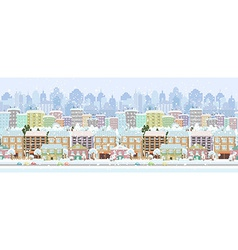 Panorama seamless border with a winter cityscape vector