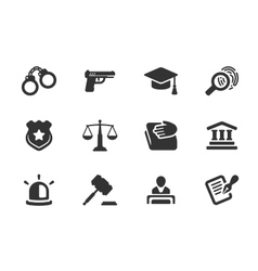 Set of justice and police icons vector