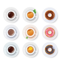 Tea and coffee with donuts vector