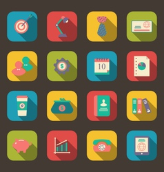 Flat icons of web design objects business and vector