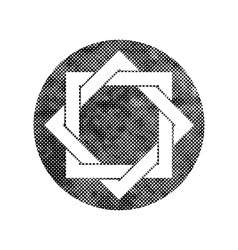 Eight point star symbol with pixel print halftone vector