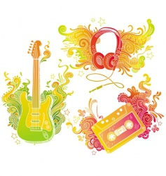 Musical equipments with doodle decor vector