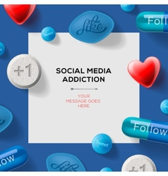 Social media addiction concept with pills vector