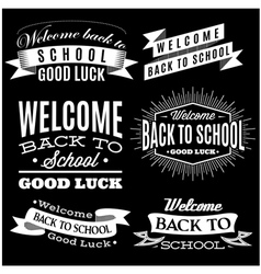 Black and white set of labels on back to school vector