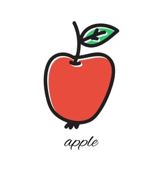 Doodle apple hand-drawn object isolated on white vector