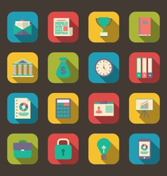 Flat colorful icons of web business and financial vector
