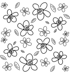 Flower pattern bw vector