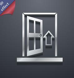 Door enter or exit icon symbol 3d style trendy vector