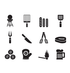 Silhouette picnic and grill icons vector