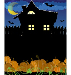 Pumpkins and haunted house vector