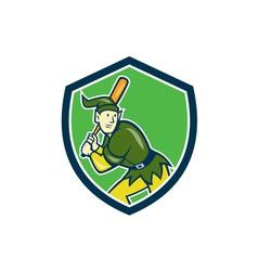 Elf baseball player batting shield cartoon vector