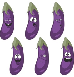 Emotion cartoon eggplant vegetables set 018 vector