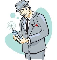 Retro telephone man vector