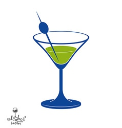 Martini glass with olive berry alcohol and vector
