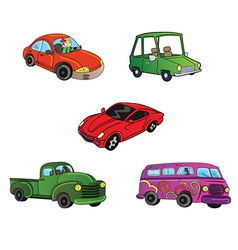 Cars trucks collection vector