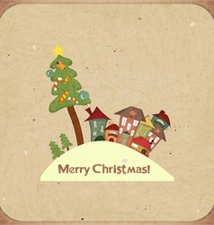 Christmas retro card with houses vector