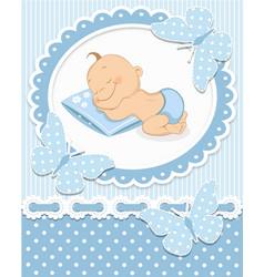 Sleeping baby boy vector
