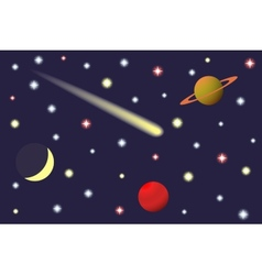 Saturn and comet in the starry sky vector