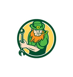 Leprechaun mechanic spanner circle retro vector