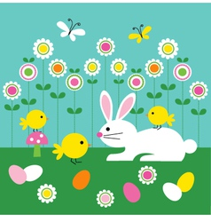 Easter bunny and chicks vector